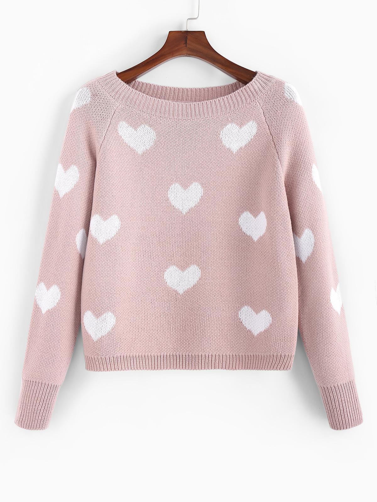 ZAFUL Heart Graphic Raglan Sleeve Textured Sweater