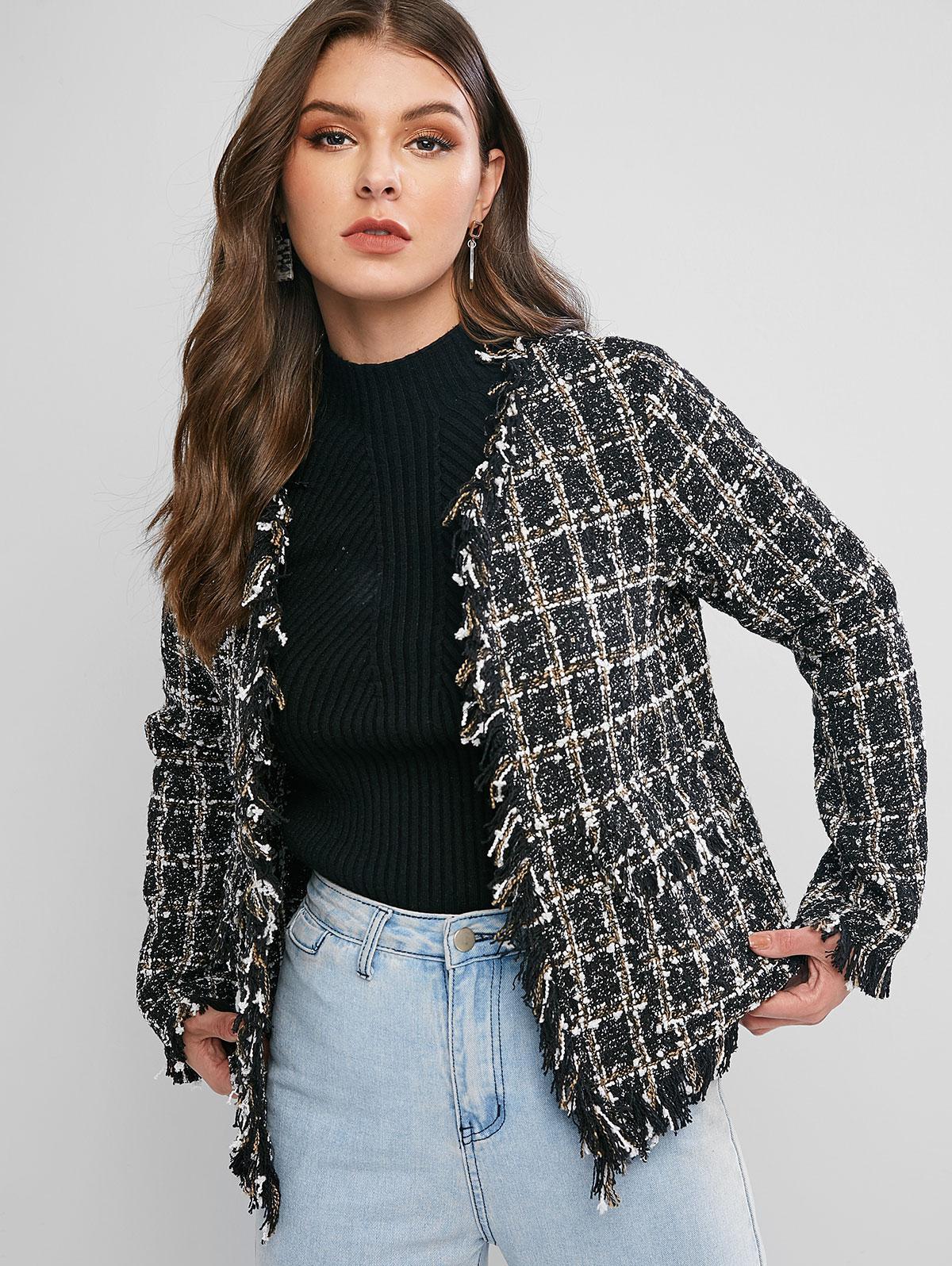 ZAFUL Fringed Plaid Flap Pockets Tweed Jacket