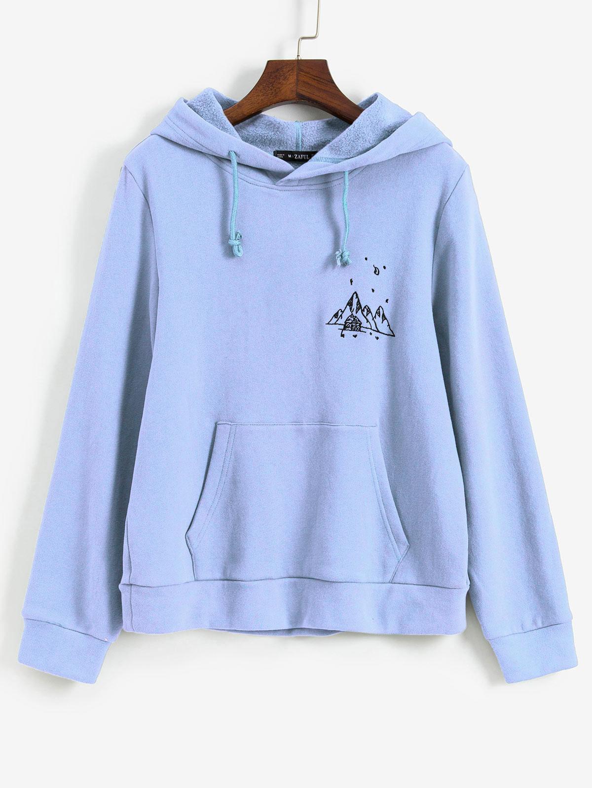 ZAFUL Embroidered Fleece Lined Kangaroo Pocket Hoodie, Day sky blue