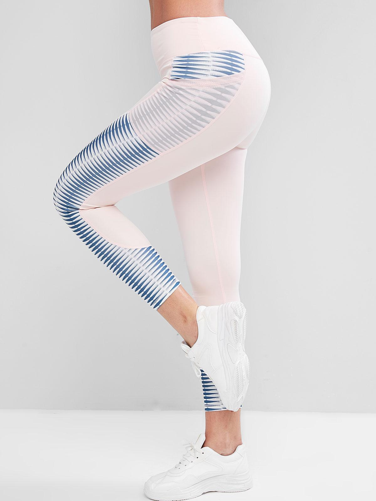 Printed Sports Leggings with Mesh Pockets