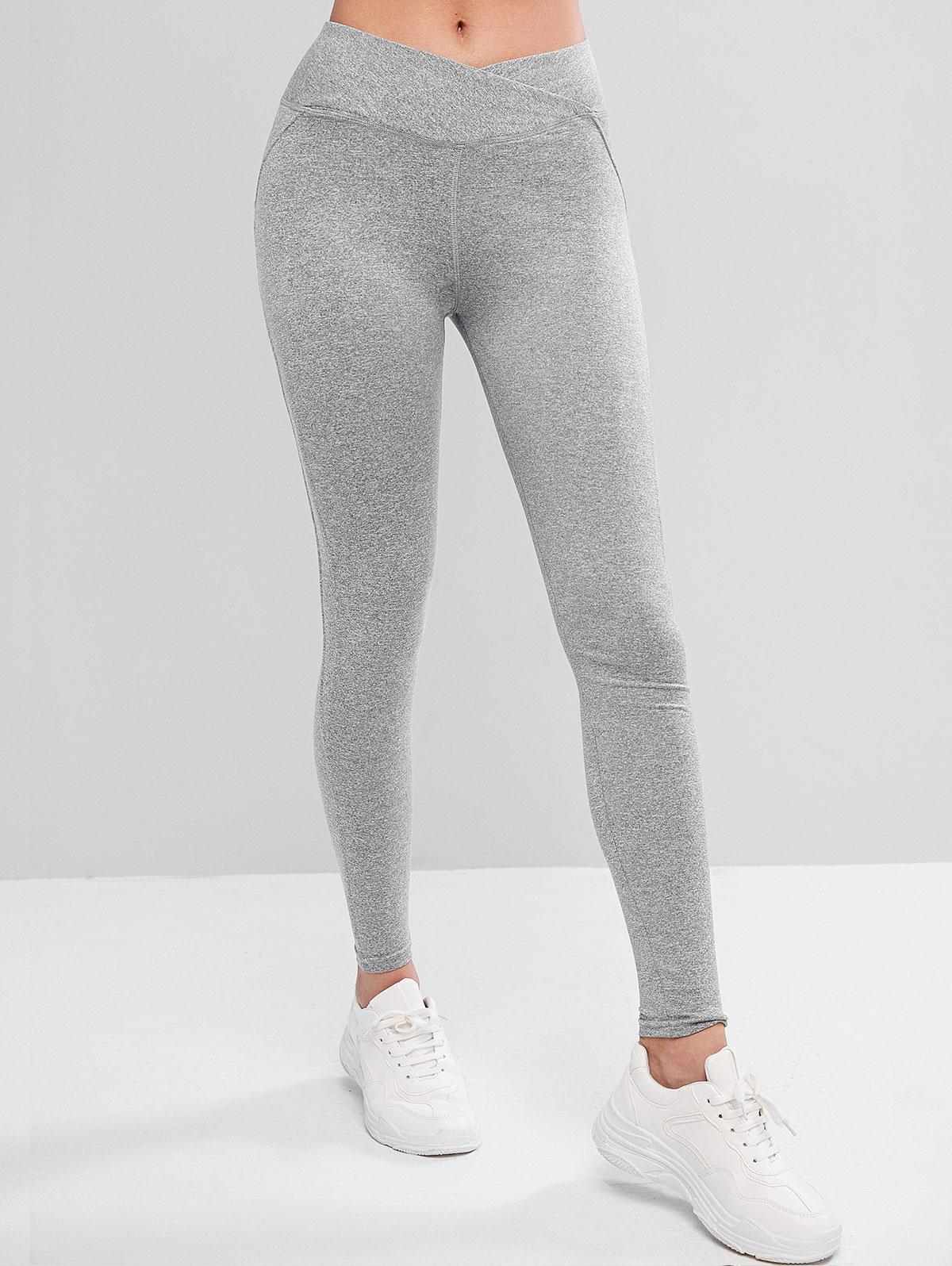 Overlap Waist Scrunch Butt Heathered Leggings