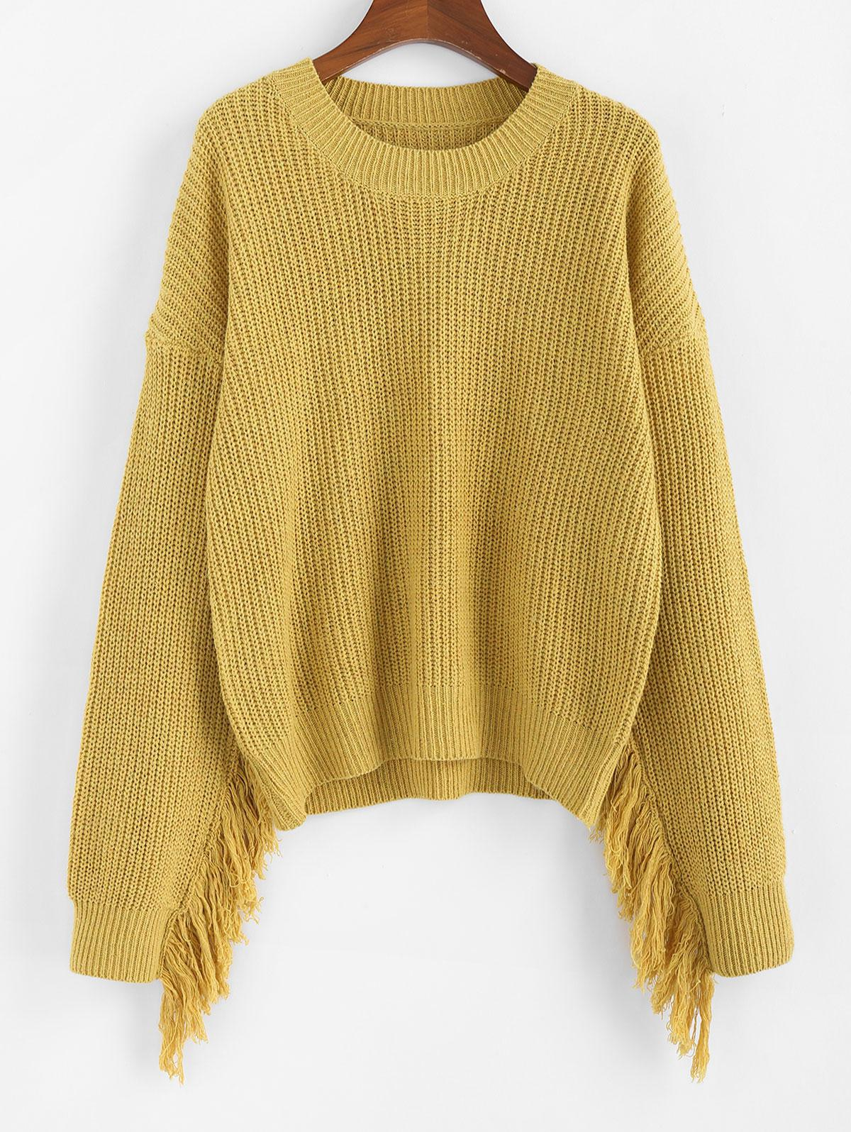 ZAFUL Fringed Drop Shoulder Loose Sweater