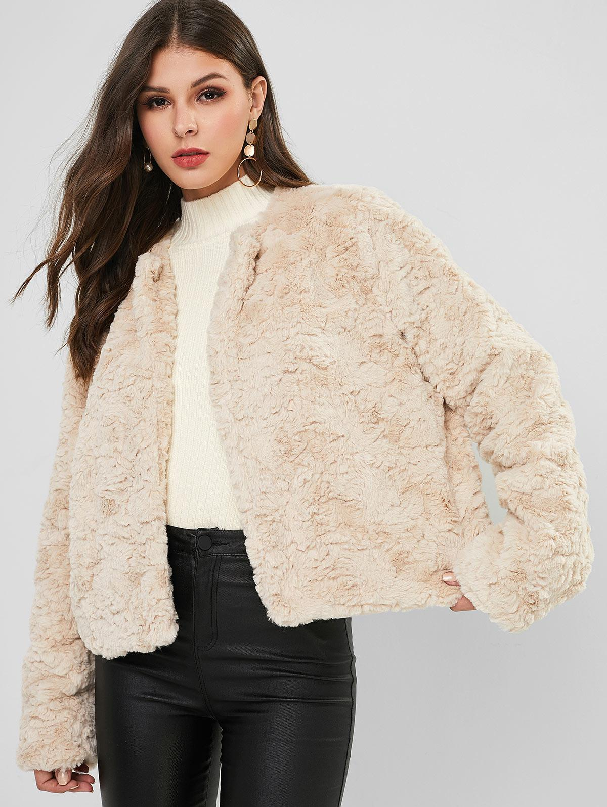ZAFUL Open Front Solid Color Faux Fur Coat
