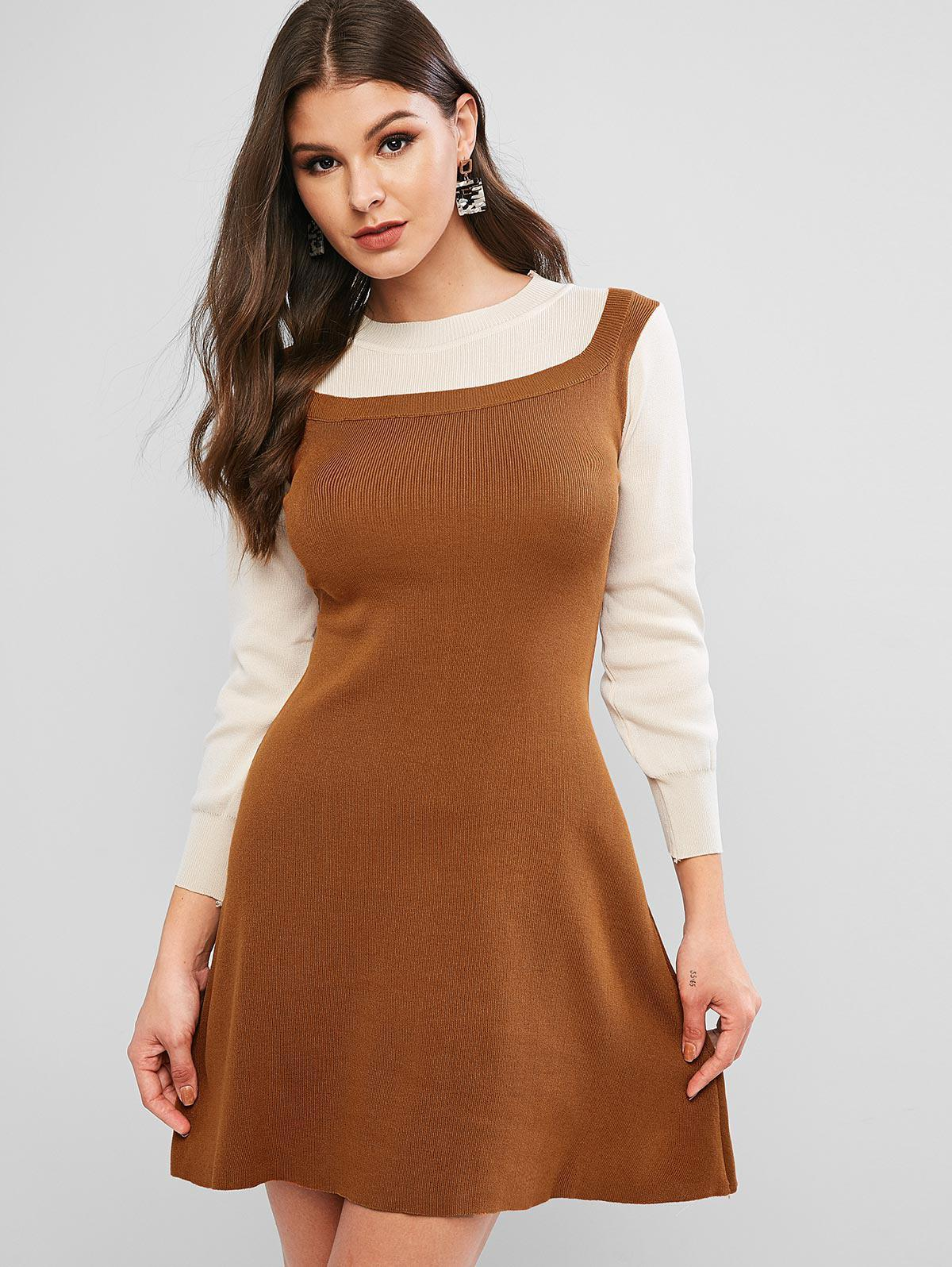 Lantern Sleeves Two Tone Flared Knit Dress