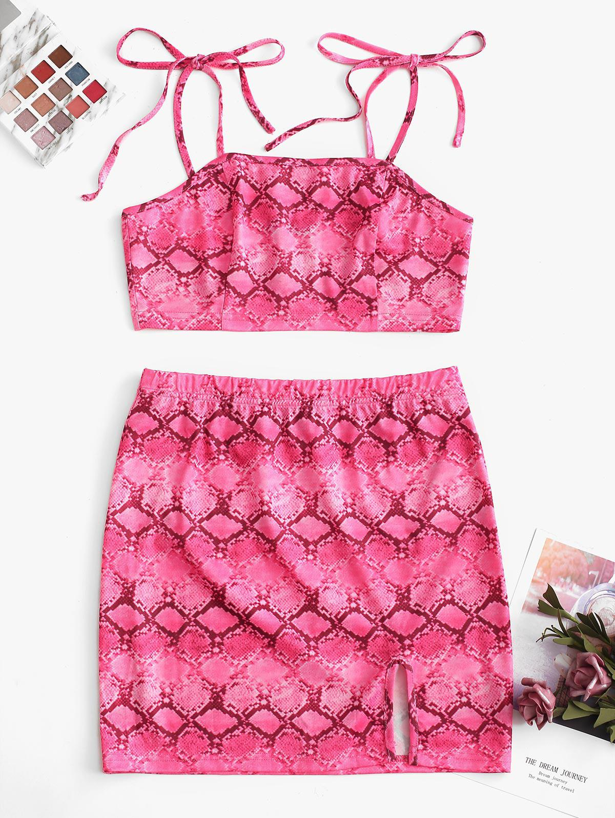 ZAFUL Snakeskin Print Cropped Top And High Waist Skirt Set фото