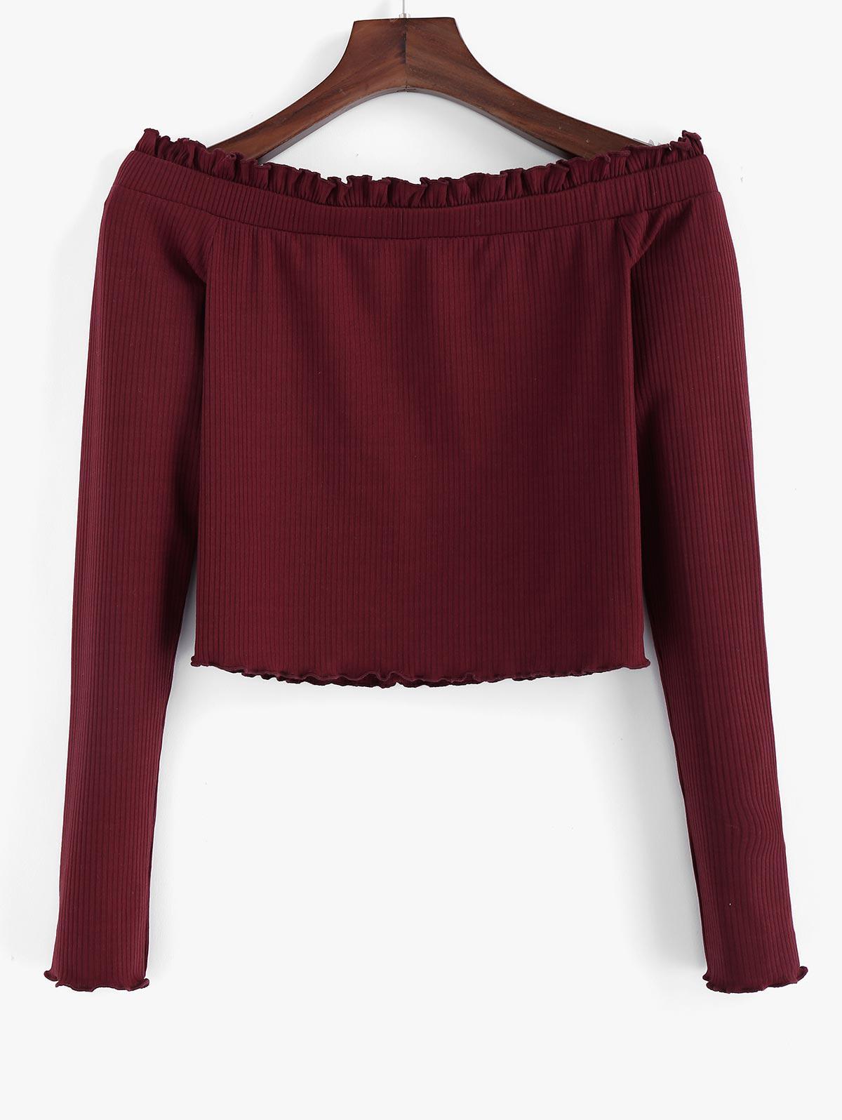 ZAFUL Ribbed Ruffle Off Shoulder Crop Sweater