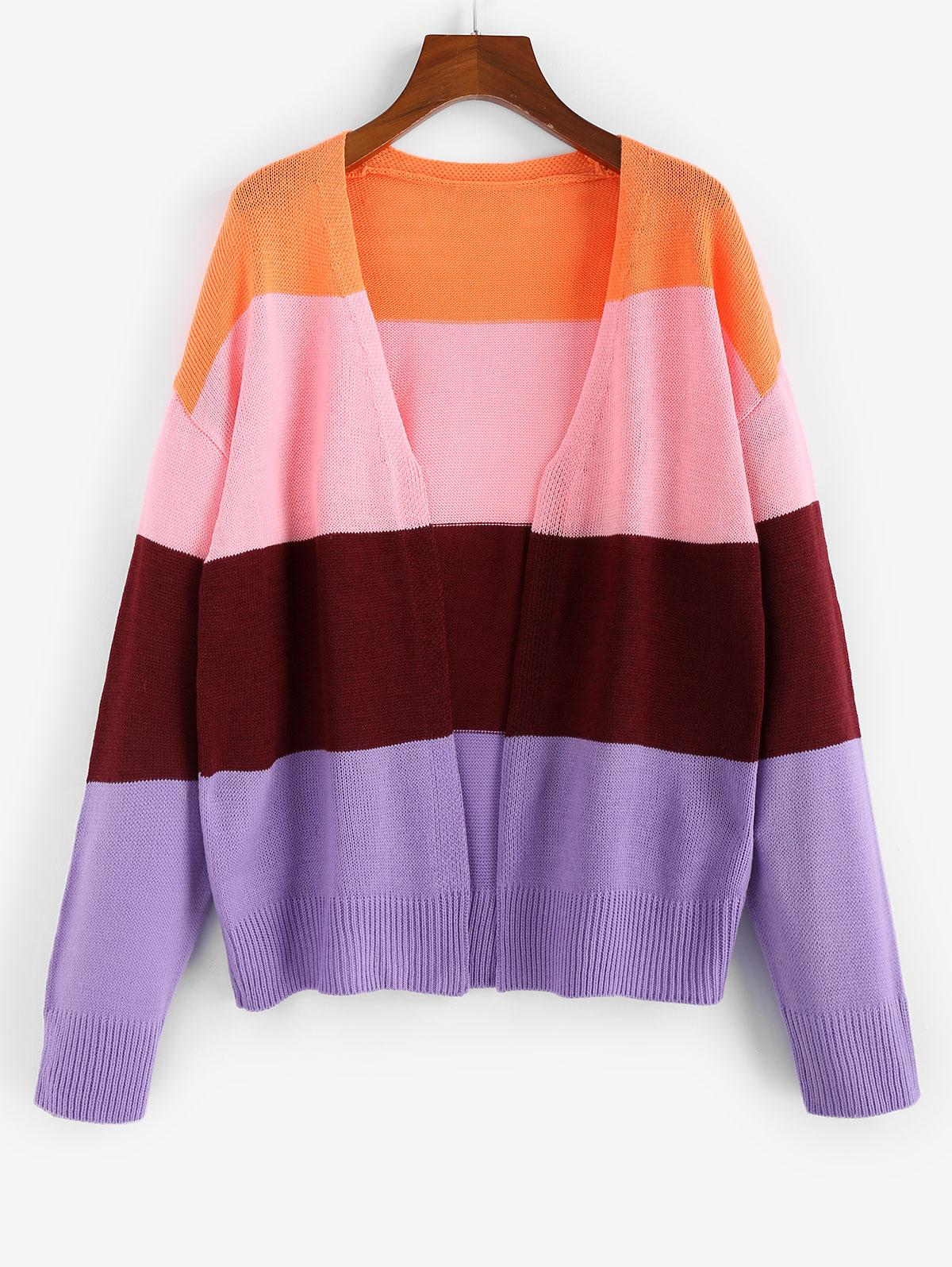 ZAFUL Colorblock Drop Shoulder Open Front Cardigan