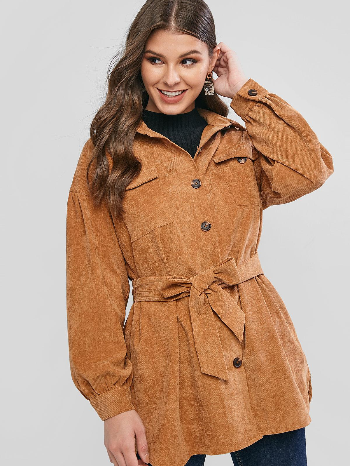 ZAFUL Buttoned Pockets Solid Belted Corduroy Coat