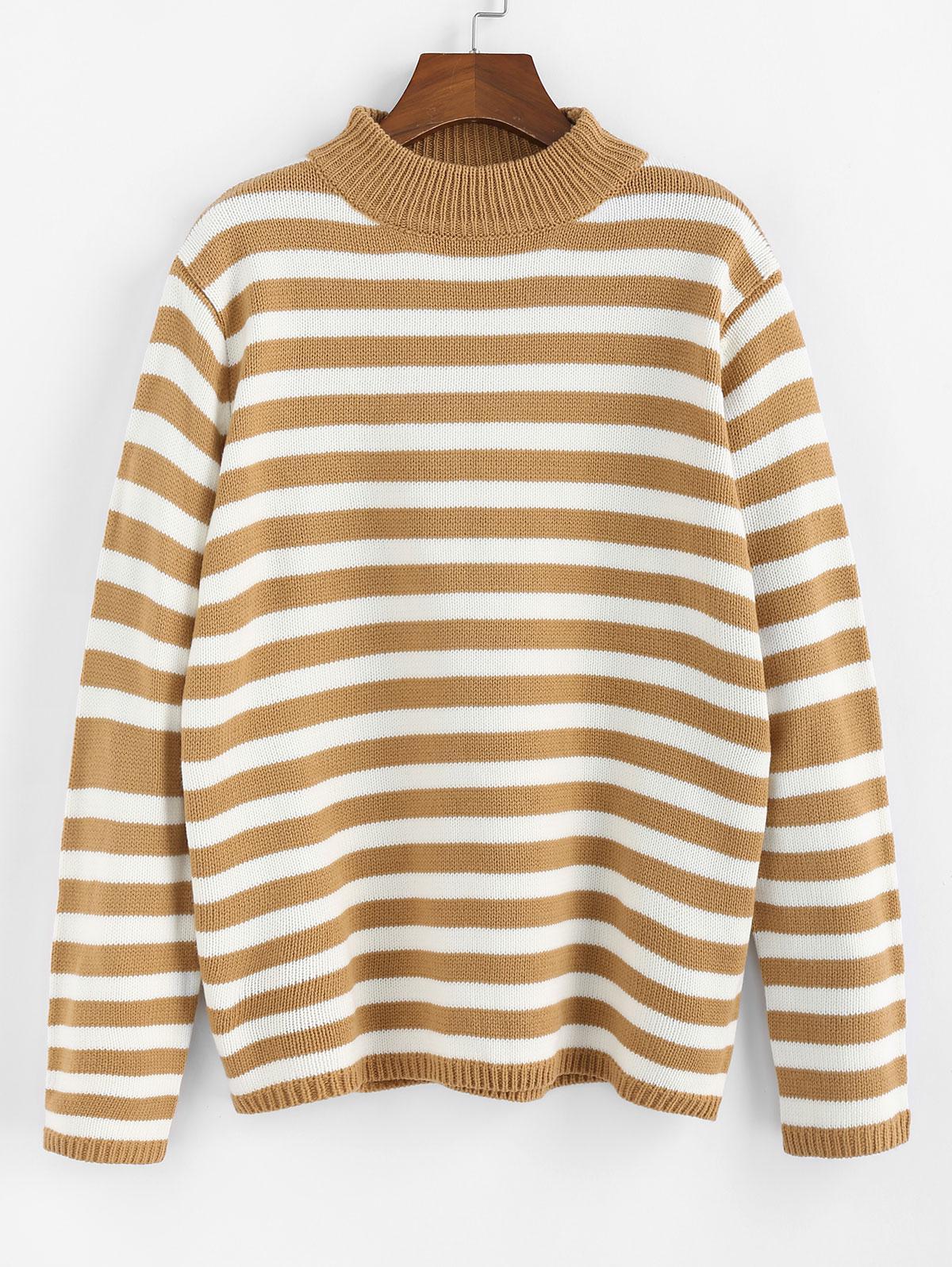 ZAFUL Striped Mock Neck Loose Sweater
