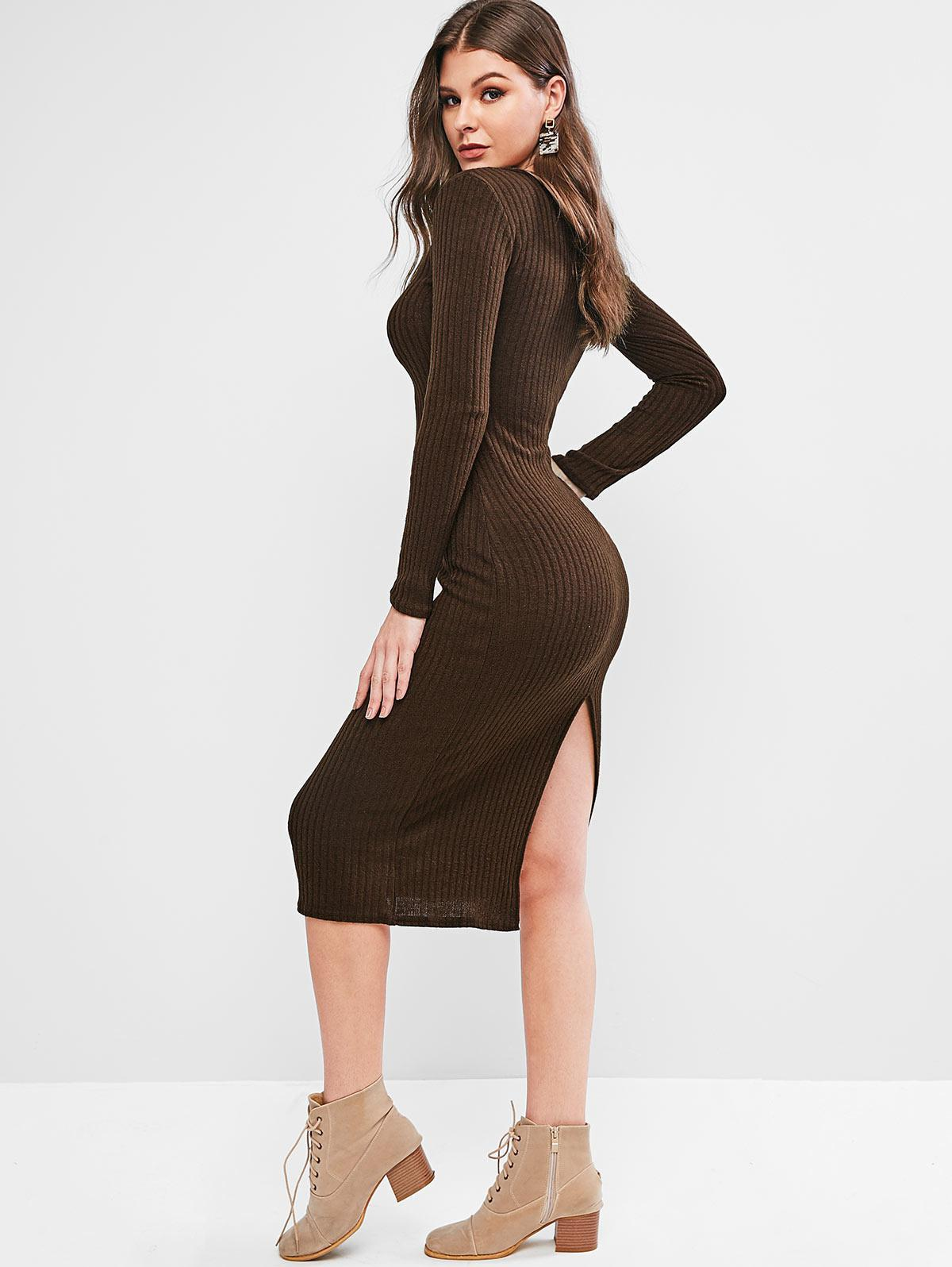 V Neck Solid Sheath Knit Dress