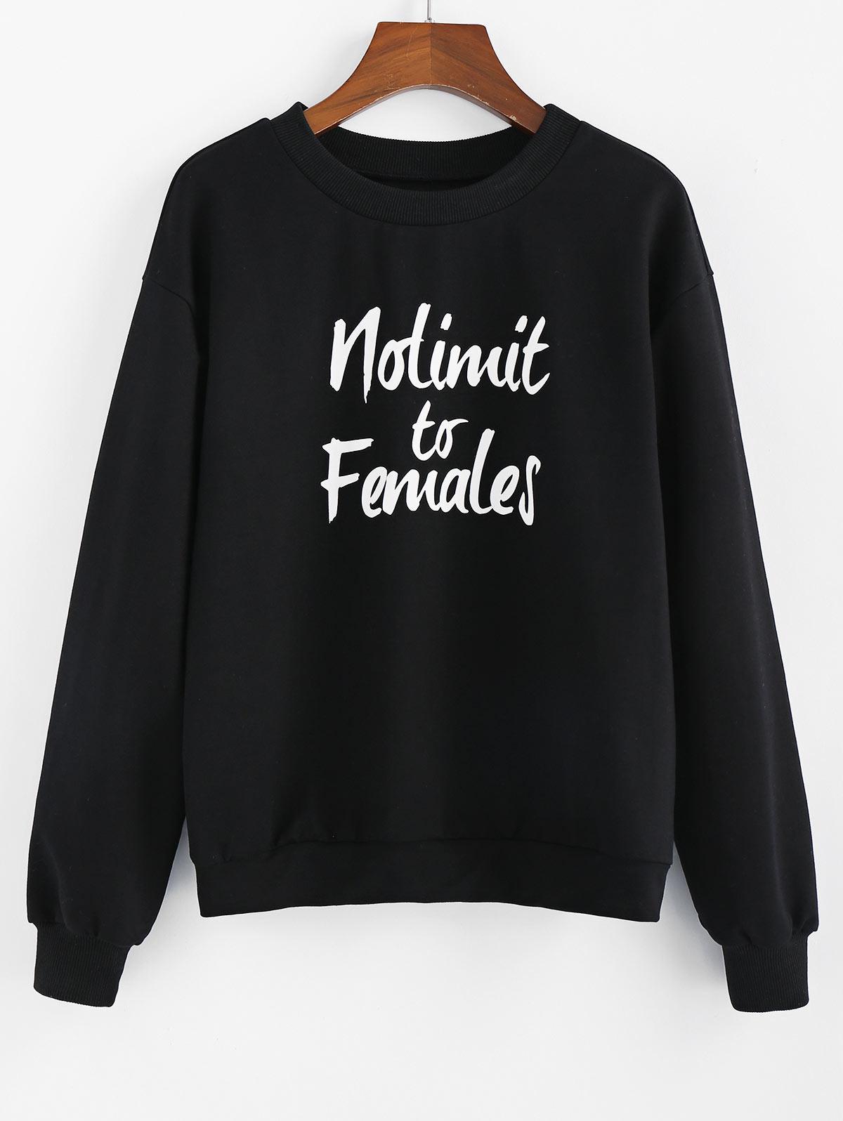ZAFUL Nolimit to Females Graphic Drop Shoulder Lounge Sweatshirt