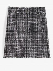 Plaid Frayed Tweed Skirt