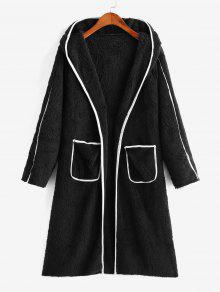 Open Placket Dual Pocket Fluffy Coat
