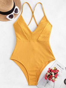 ZAFUL تقاطعات مضلع من قطعة واحدة ملابس السباحة - بني ذهبي M