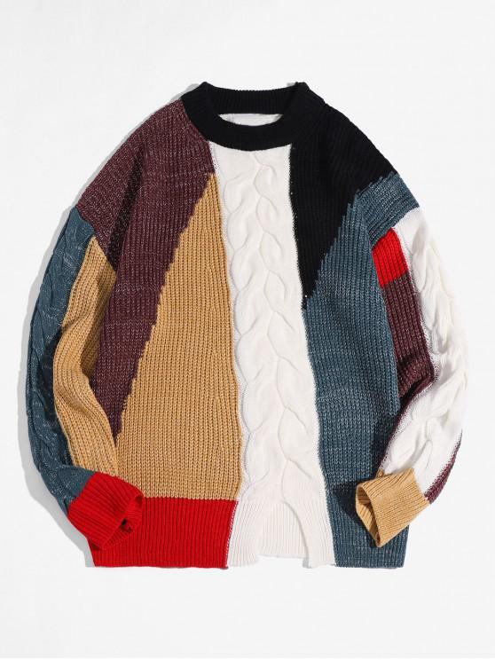El color de bloqueo de punto grueso suéter de la raja del frente - Multicolor L
