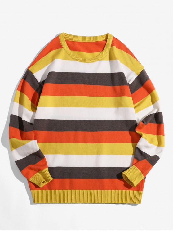 ladies Colorblock Stripe Crew Neck Pullover Sweater - YELLOW XL