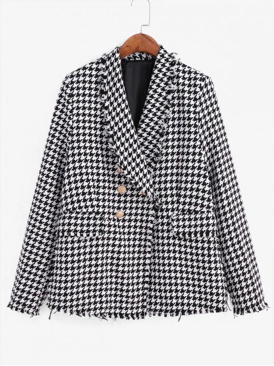 fancy Frayed Flap Pockets Houndstooth Double Breasted Blazer - MULTI-A L