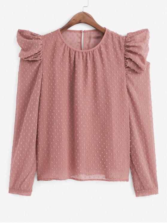 Suizo Dot soplo de la manga de la blusa Oficina - Rosado L