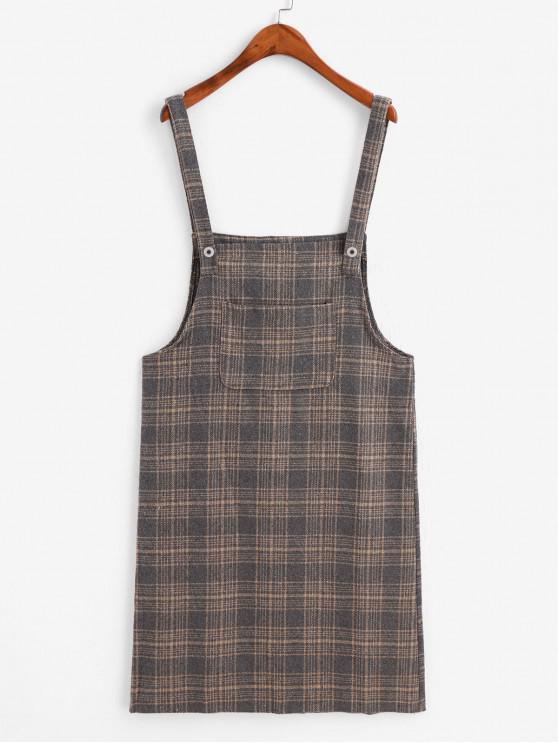 affordable Front Pocket Plaid Back Slit Pinafore Dress - GRAY ONE SIZE