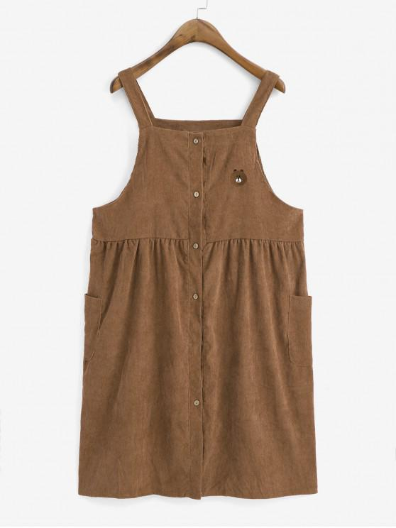 chic Embroidered Button Up Pockets Corduroy Pinafore Dress - BROWN ONE SIZE