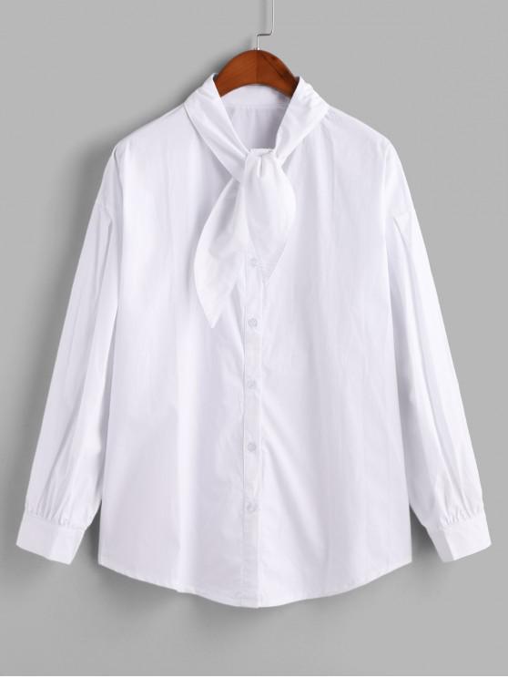 زر حتى منحني تنحنح الخيوط الطويلة ربطة بلوزة - أبيض حجم واحد
