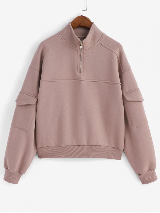 hot Quarter Zip Flap Pockets Drop Shoulder Sweatshirt - PINK M
