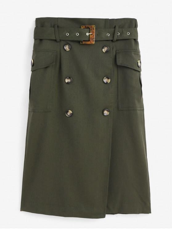best Belted Flap Pockets Double Breasted Office Skirt - GREEN L