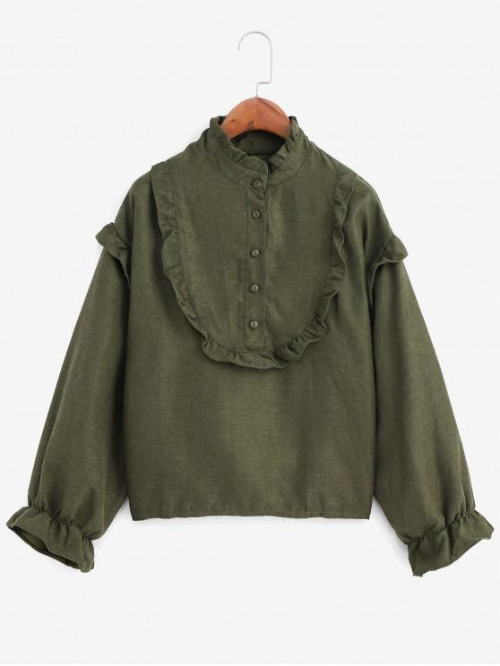 trendy Ruffle Neck Poet Sleeve Half Button Blouse - ARMY GREEN ONE SIZE