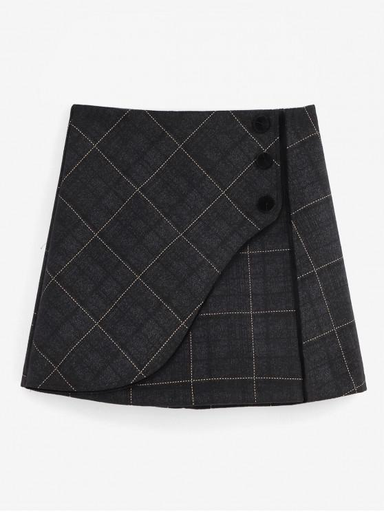 outfit Grid Foldover Wool Blend Skirt - BLACK XL