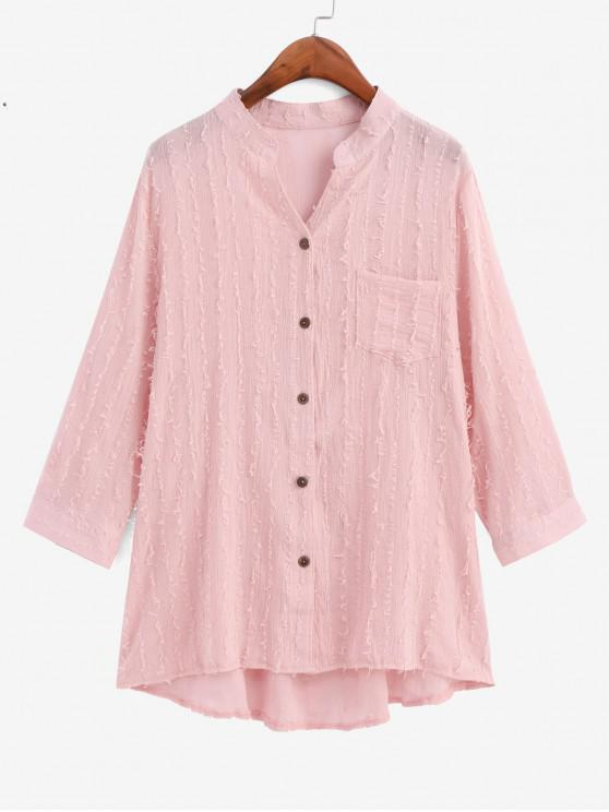 trendy Frayed Detail Pocket High Low Longline Shirt - PINK M