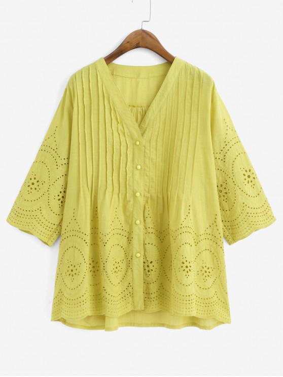 fashion Eyelet Button Up Longline Pintuck Blouse - TAN BROWN 2XL