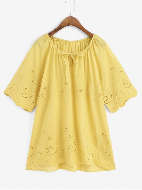 women Eyelet Flower Embroidered Raglan Sleeve Blouse - GOLDENROD 2XL