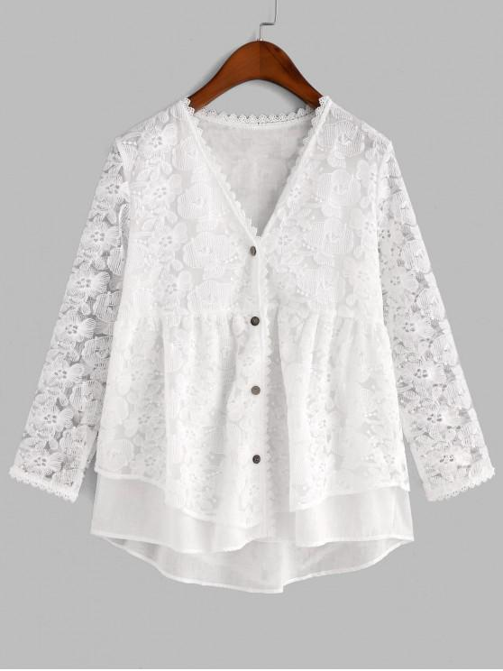trendy Floral Embroidered Button Up Longline Blouse - WHITE XL