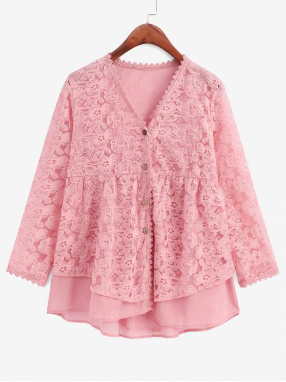 fashion Floral Embroidered Button Up Longline Blouse - ROSE XL