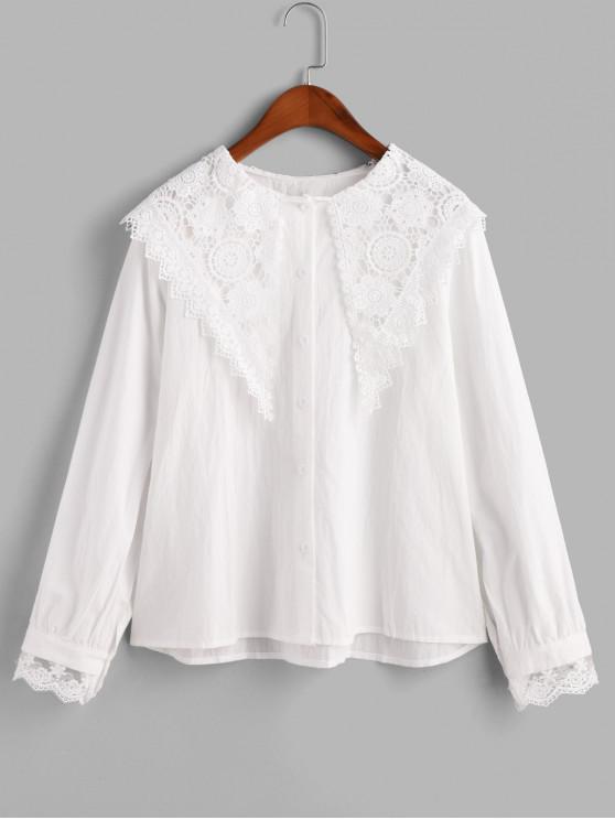 women Button Down Lace Panel Scalloped Edge Shirt - WHITE M