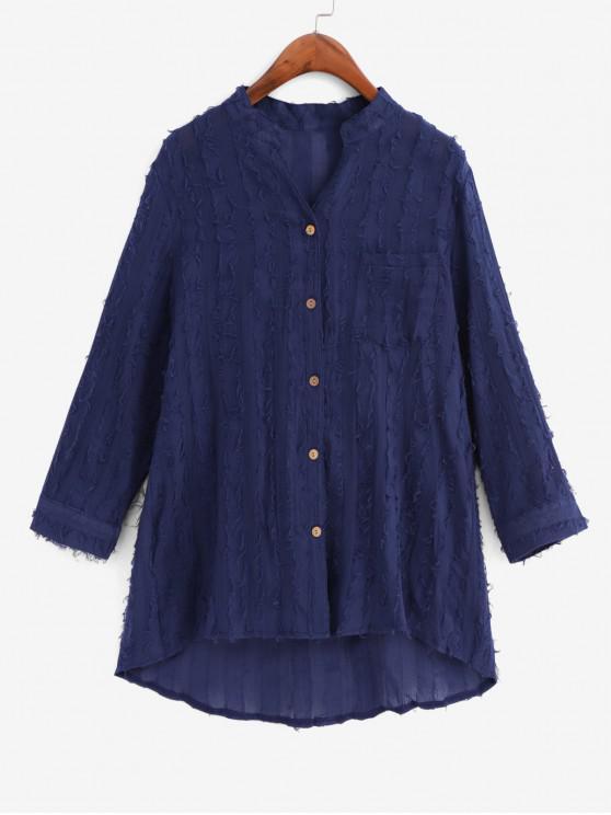 women's Frayed Detail Pocket High Low Longline Shirt - MIDNIGHT BLUE 2XL