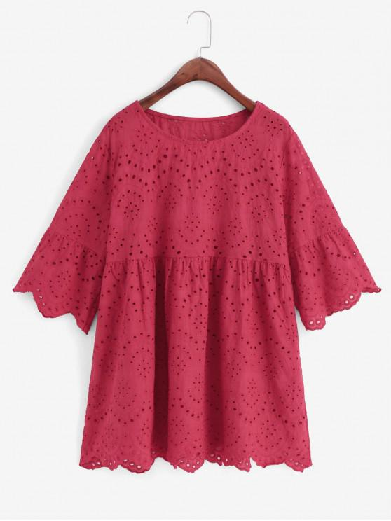 online Eyelet Flare Sleeve Scalloped Longline Blouse - RED XL