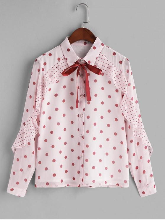 fashion Pussy Bow Ruffle Polka Dot Shirt - PINK 2XL