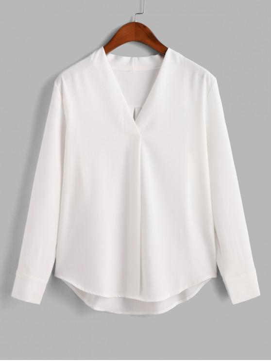 women Long Sleeve Work Blouse - WHITE S