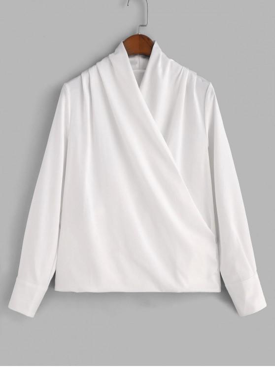 fashion Shiny Draped Surplice Blouse - WHITE 2XL