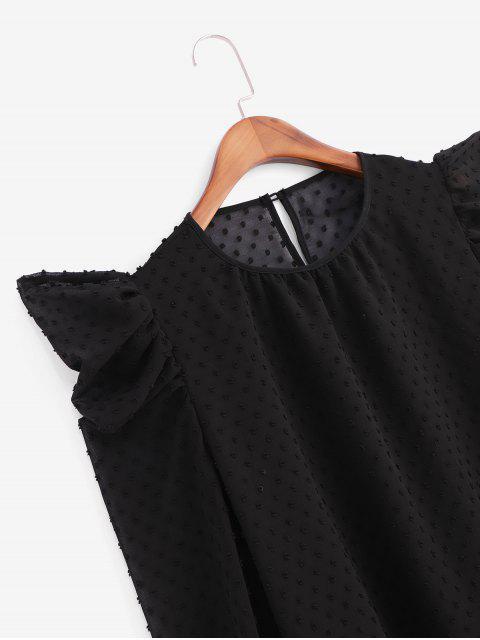 online Swiss Dot Puff Sleeve Office Blouse - BLACK M Mobile