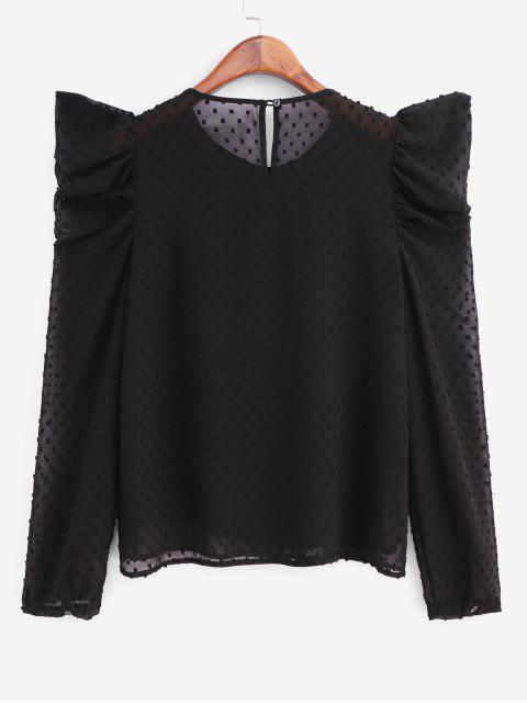 ladies Swiss Dot Puff Sleeve Office Blouse - BLACK XS Mobile