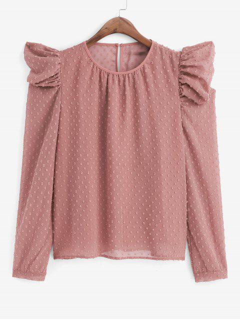 womens Swiss Dot Puff Sleeve Office Blouse - PINK L Mobile
