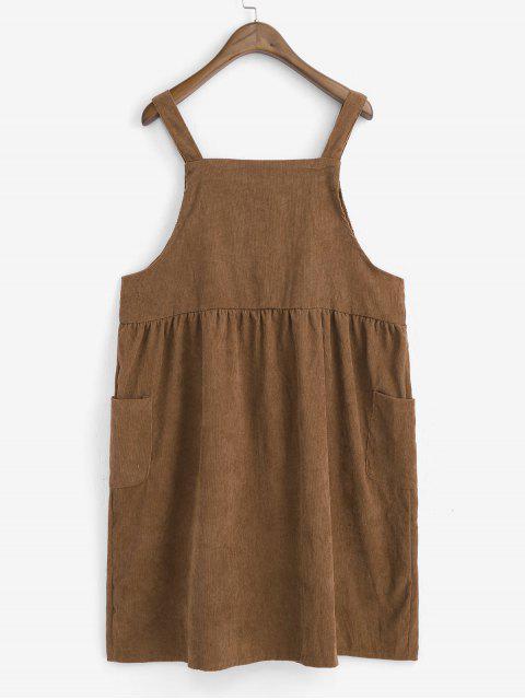 Robe Boutonnée Brodée en Velours Côtelé avec Poche - Brun Taille Unique Mobile