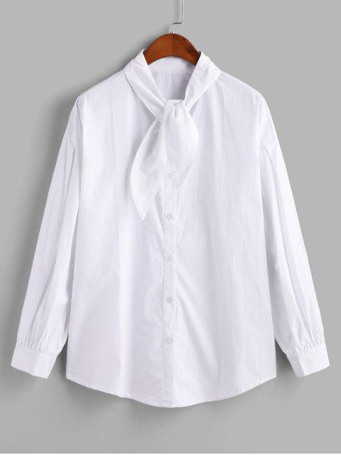 sale Button Up Curved Hem Longline Bowtie Blouse - WHITE ONE SIZE Mobile