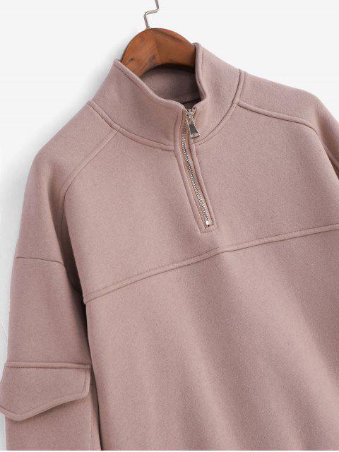 Viertel Ärmel Reißverschluss Klappe Taschen Drop Schulter Sweatshirt - Rosa L Mobile