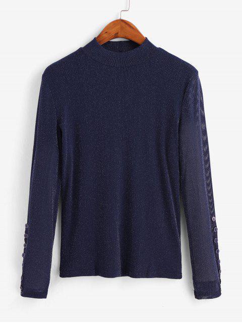 latest Metallic Thread Mesh High Neck Long Sleeve Tee - NAVY BLUE L Mobile