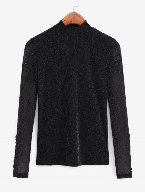 online Metallic Thread Mesh High Neck Long Sleeve Tee - BLACK XL Mobile