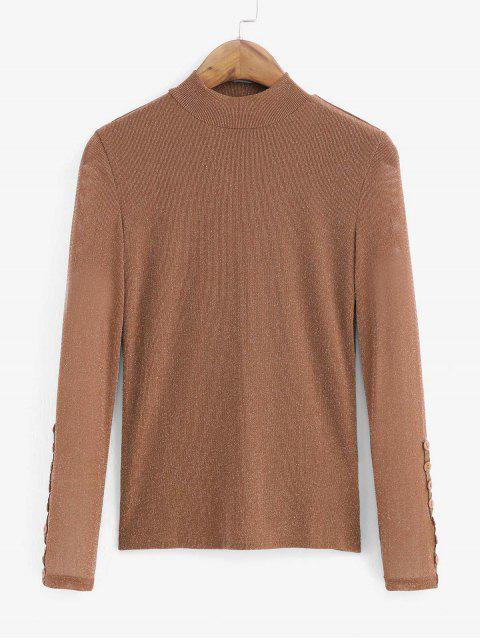 shops Metallic Thread Mesh High Neck Long Sleeve Tee - BROWN XL Mobile