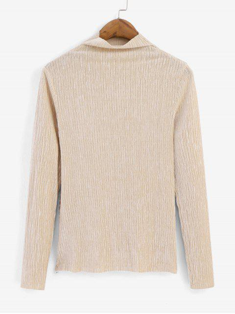 outfits Metallic Thread Pleated Raw Cut Long Sleeve Tee - APRICOT XL Mobile